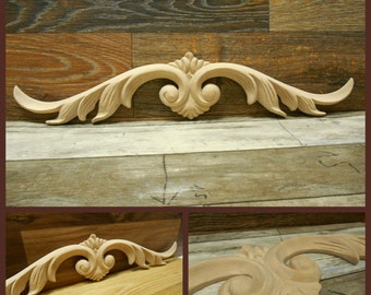 "Wood Applique -Onlay -Carved Applique-pc  19 15/16""W x 3 15/16""H x 5/16""D-HardWood- Applique- ref.Mo17s"