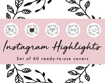 Instagram Story Highlight Icons - 60 White Hand Drawn Border   Fashion, Beauty, Lifestyle, Decor, Craft, Handmade, Bloggers, Influencers