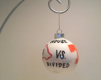 House Divided football team sports Christmas Ornament Handpainted