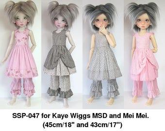 STRAIGHTFORWARD Sewing Pattern SSP-047: Playsuits for Kaye Wiggs dolls.  (43cm Mei Mei & 45cm MSD) Dresses, Bloomers, Petticoat.