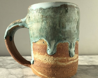 Simple cup, marbled tea cup yunomi tumbler, wabi sabi stoneware drinking vessel lavender purple glaze drips