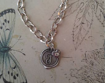 WAX SEAL STAMP Monogram Bracelet and Heart Charm