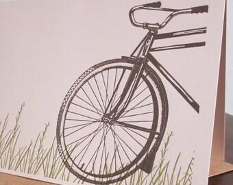 Bike In Grass - Letterpress Printed Greeting Card