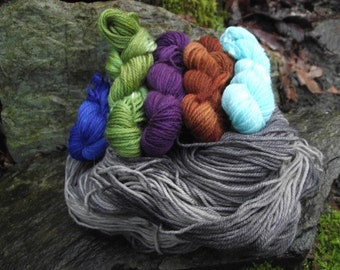 Leftie Kit, sock yarn shawl kit, handpainted wool sock yarn kit Ravelry pattern-Stroll