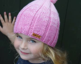 Hand Knitted Hat, Girls Hat, Bobble Hat, Hat for girl, Beanie Hat, Pom Pom Hat, Pink hat, Ready to ship