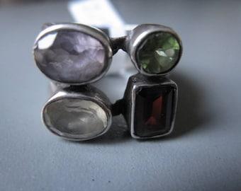 Sterling Silver Grooved Garnet Peridot Amethyst Quartz Gemstone Ring 7 (2198)