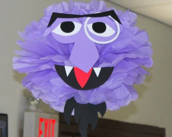 """Purple Monster tissue paper pompom kit, inspired by """"The Count"""" from Sesame Street"""