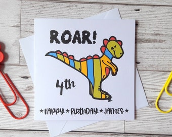 Cute dinosaur birthday card, personalised birthday boy card, birthday card for girl, Dino fan, happy birthday children's card, nephew, son