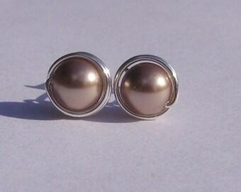 Bronze Pearl Stud Earrings (8mm), Swarovski Pearl Stud Earrings, Wire Wrapped Sterling Silver Stud Earrings, Medium Bronze Stud Earrings