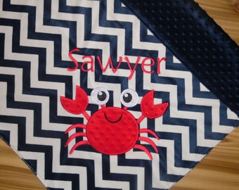 Crab- Personalized Minky Baby Blanket - Navy Chevron Minky - Embroidered Crab