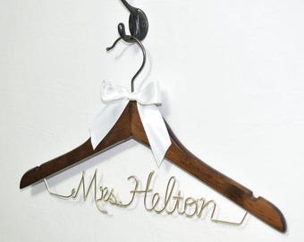 Wedding Hanger ,Personalized Bride Hanger, Last Name Bridesmaid Hanger