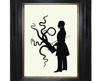 Octopus Art Print Kraken Silhouette Gentleman Tentacles Top Hat Victorian Steampunk Art Print