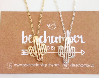 bohemian jewelry, cactus necklace, gold or silver plated necklace, beachcomber necklace, boho necklace, gold chain necklace