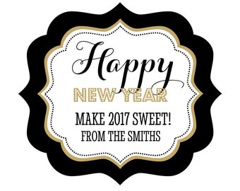 set of 24 personalized new years eve party frame labels sticker signs seasonal festive candy buffet bag customized favor gift bags