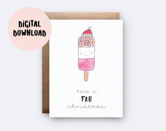 Printable Card   Have A Fab Christmas   Digital Download   Fab Pun Card   Printable Christmas Card   Funny Xmas Card   Cute Fab Card