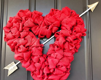 Heart shaped wreath - Heart shaped red wreath w/ arrow, Red wreath, Red heart shaped wreath, wreath, Red heart wreath, Valentines Day,