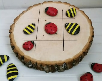 Natural Wood Lady Bug and Bee Tic Tac Toe Game