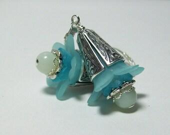 Lucite Flower Earrings. Aqua and Amazonite Earrings. Vintage Inspired Lucite Earrings. Lucite and Stone.