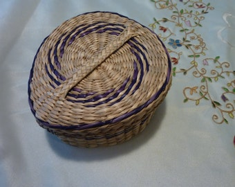 Vintage Sweet Grass Basket - Native American Basket with Lid - Hand Woven Teardrop Basket With Blue Accents Throughout - Gift for Anyone