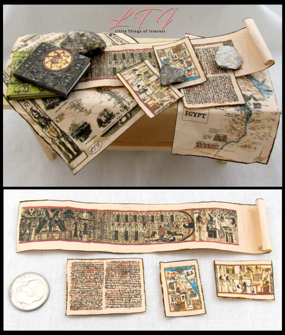 ANCIENT EGYPTIAN ARTIFACTS Miniature Dollhouse 1:12 Scale Papyrus Scroll Library School Room Ancient Geography Egypt Pyramid Pharos