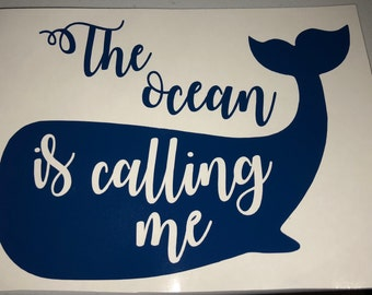 The Ocean is Calling Whale Decal