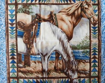 Fabric cotton pillows a vignette of two horses