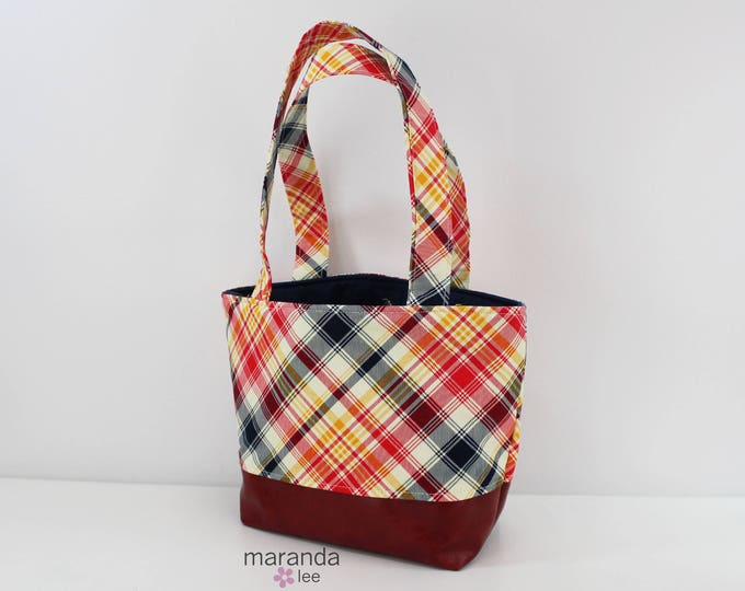 Lulu Medium Tote  Red Plaid  READY to SHIP