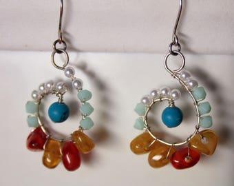 Boho Hippie earrings, Vintage Earrings, USSR, Statement earrings, Gypsy Tribal earrings, boho floral earrings, 1970s earrings, Gift for her