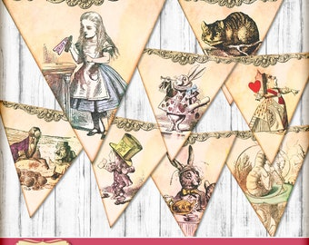 Wonderland Decorations - 8 Bunting Flags - party printable bunting - Alice in Wonderland Theme tea party - Wonderland bunting