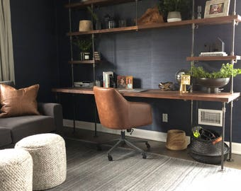 Amazing Butcher Block Office Desk Built In