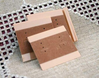 100pcs Velour Earring Card Beige Large 2x2 inches With 3 Holes