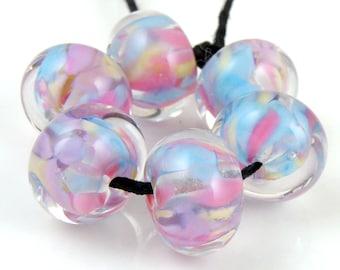 Chintz Encased SRA Lampwork Handmade Artisan Glass Donut/Round Beads Made to Order Set of 6 10x15mm