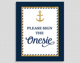Please Sign The Onesie Sign, Nautical Anchor Shower Sign,  Navy & Gold Glitter, INSTANT PRINTABLE