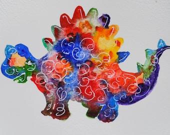 Art Postcard, Colourful Dinosaur A6 , Childrens Art, Watercolour Painting.