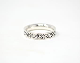 Vintage Designer Ed Levin Sterling Silver Band Ring - Ivy Design - Size 7 - 604516813