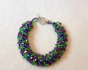 Hand Beaded Flat Spiral Bracelet-Green/Purple- 8 in.