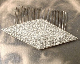 Wedding Dress Sash Brooch OR Bridal Hair Comb, Vintage Art Deco Old Hollywood Glamour Silver Pave Rhinestone Jewelry/OOAK Hairpiece 1940s
