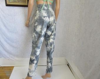 "80s 11 30"" x 31"" Northern Reflections Tie Dye Denim Jeans Pants Gray White"
