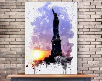 Statue of Liberty Poster, Watercolor, New York, NYC Instant Download, 8x10, Digital Poster, New York City, Digital Download, Home Decor