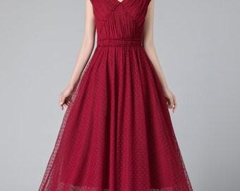 Wine red dress, Red wine bridesmaid dress, Burgundy red tulle dress, sleeveless dress, summer dress, Long red wine bridemaid dress 1918