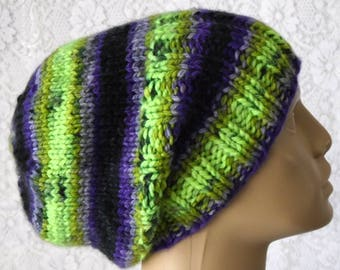 Purple green black hat, slouchy hat, watch cap, brimmed beanie hat, striped hat, knit hat, winter hat, toque, mens womens hat, chemo cap, V2