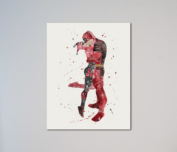 Harley Quinn And Deadpool Kissing Watercolor Art Print Picture