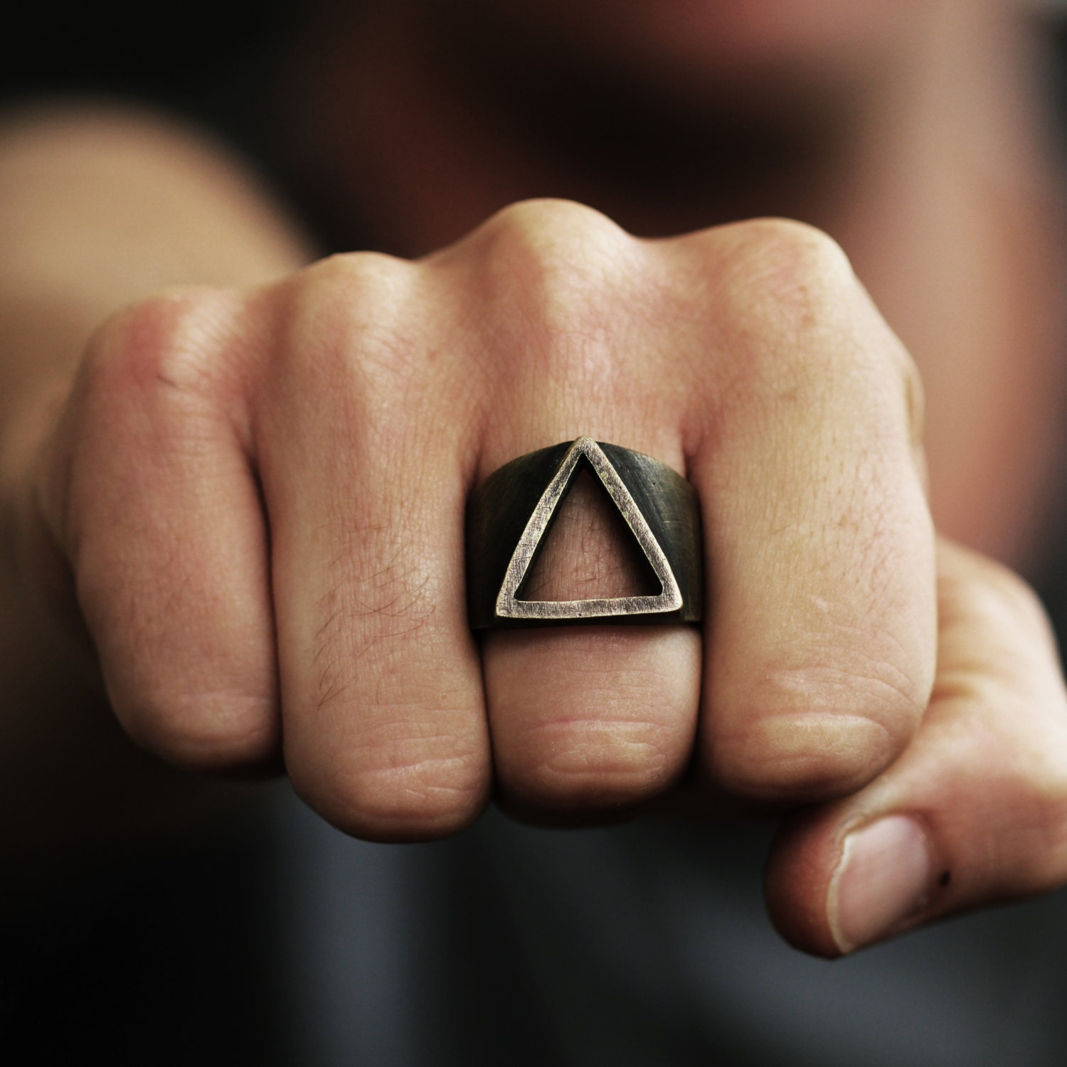 Mens Ring Triangle Ring Triangle Rings Triangle Mens Gold Ring