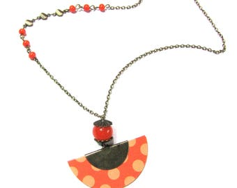 Bronze necklace with fan paper weight Orange, Orange beads, chain and rings