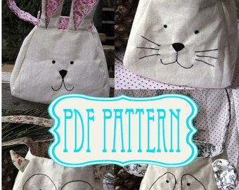 Rabbit, cat, panda, owl, bunny, sewing pattern bag, instant download bag, DIY gift bag. Animal  Sewing Pattern - Make Your Own easter bag