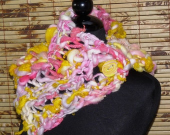 Hand Knitted Handspun Wool NECKWARMER  SUNSHINE