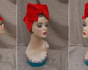 TURBAN Headband Turbandband MOHNROT knallrot rot SAMT Diva Haarband Vintage fifties forties 40er 50-er Fünfziger Haarschmuck 10 Farbauswahl