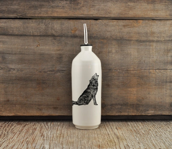 Handmade white glossy porcelain cruet with wolf drawing by Cindy Labrecque, Canadian Wildlife collection