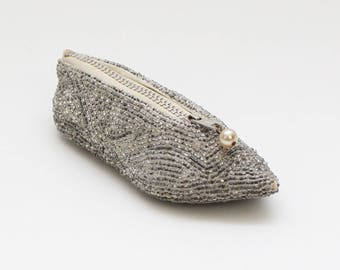 Beaded Slipper Coin Purse - Vintage 1950s Silver Pouch