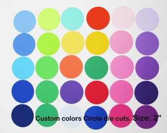 2 inch Paper Circle Die Cuts/ 2 inch/ Custom colors/ --choose your set size--